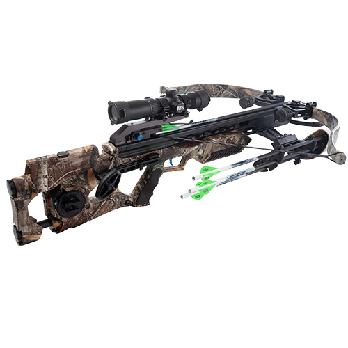 Excalibur Assassin 420 Takedown shown in Realtree Edge Camo Pattern with Pro Shot ACP Trigger, Proflight Arrows, and upgraded scope