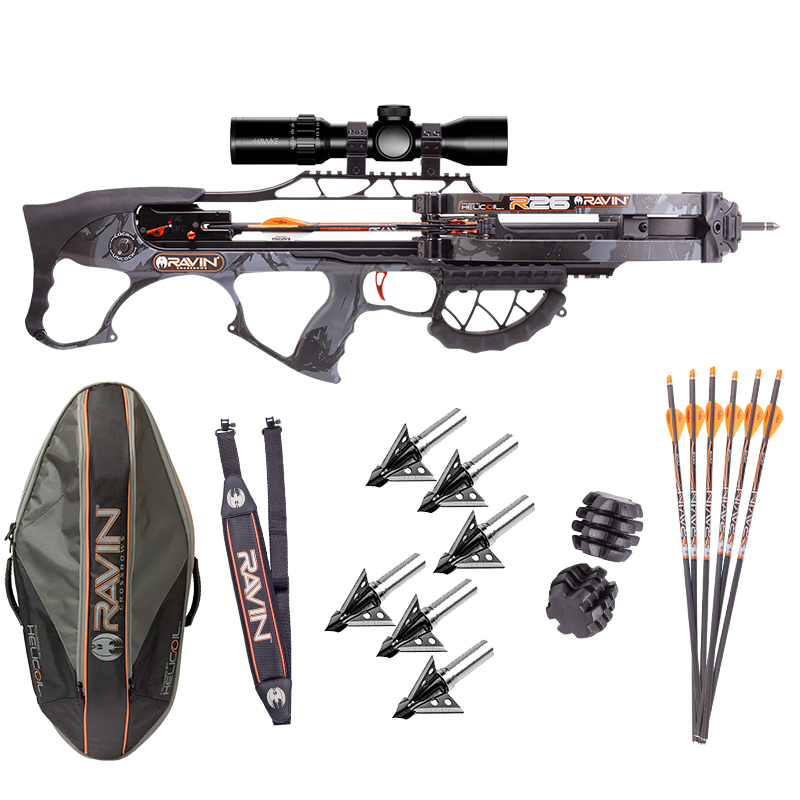 The ultimate Ravin R26 hunter package with sling, broadheads, lighted arrows, and vibration dampeners.