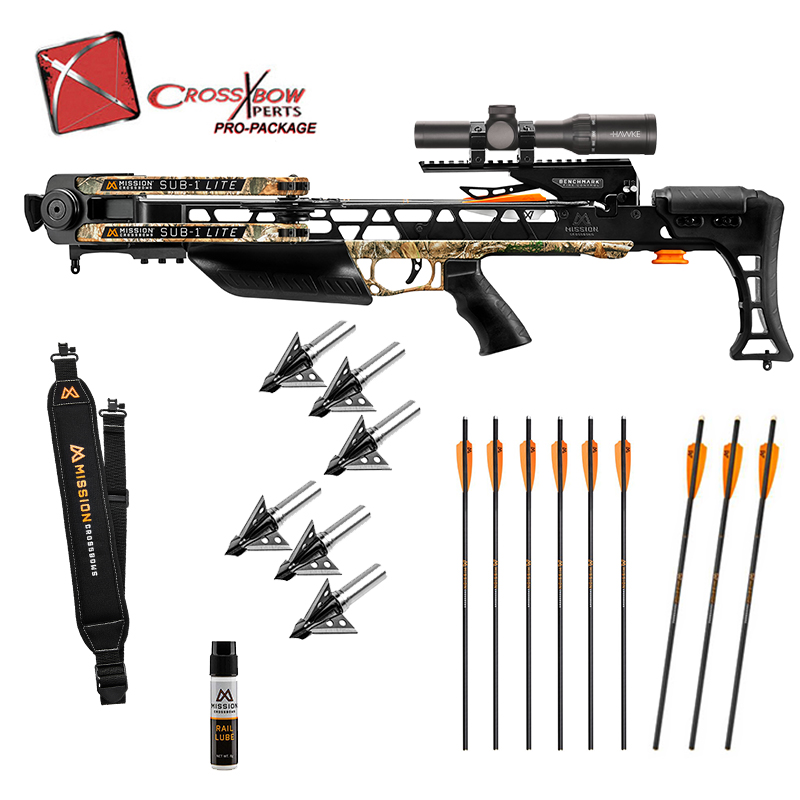 Mission Sub 1 Lite crossbow pro package with illuminated arrows and broadheads, in stock with free shipping from the Crossbow Experts.