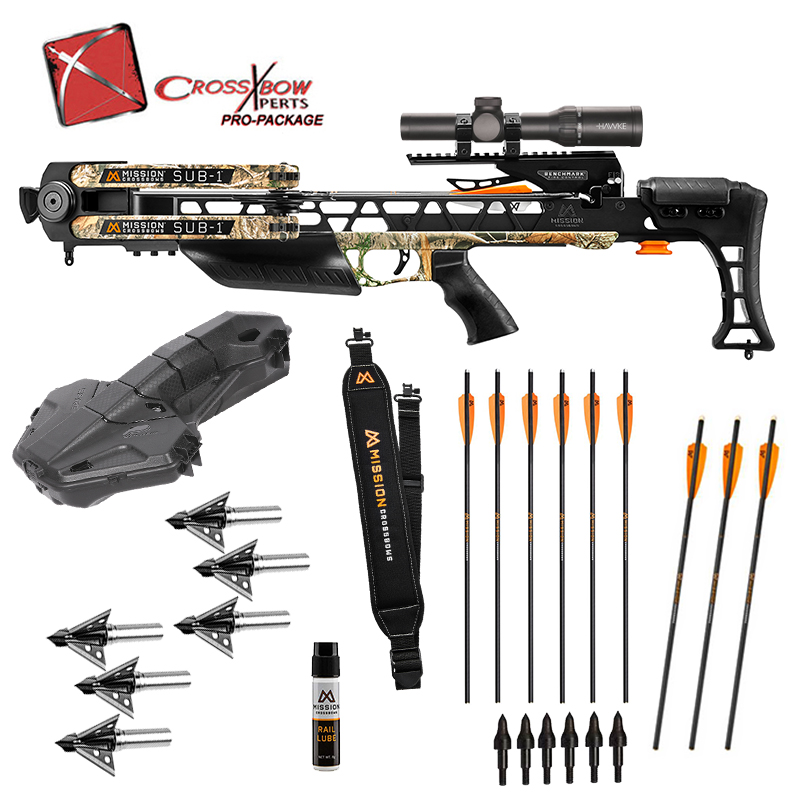 Mission Sub 1 Fully Assembled Crossbow Platinum Package in stock and free shipping from the Crossbow Experts. Extra arrows, broadheads and more Mission Accessories.