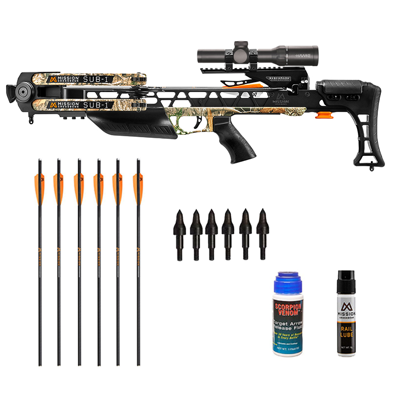 Mission Sub 1 Crossbow Shooter Package in stock and free shipping from the Crossbow Experts. Extra arrows, Rail Lube, soft case and more Mission Accessories.