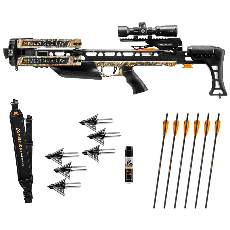 Mission Sub 1 XR Crossbow Hunter package with extra arrows, broadheads, a sling, and lube for a frequent hunter!