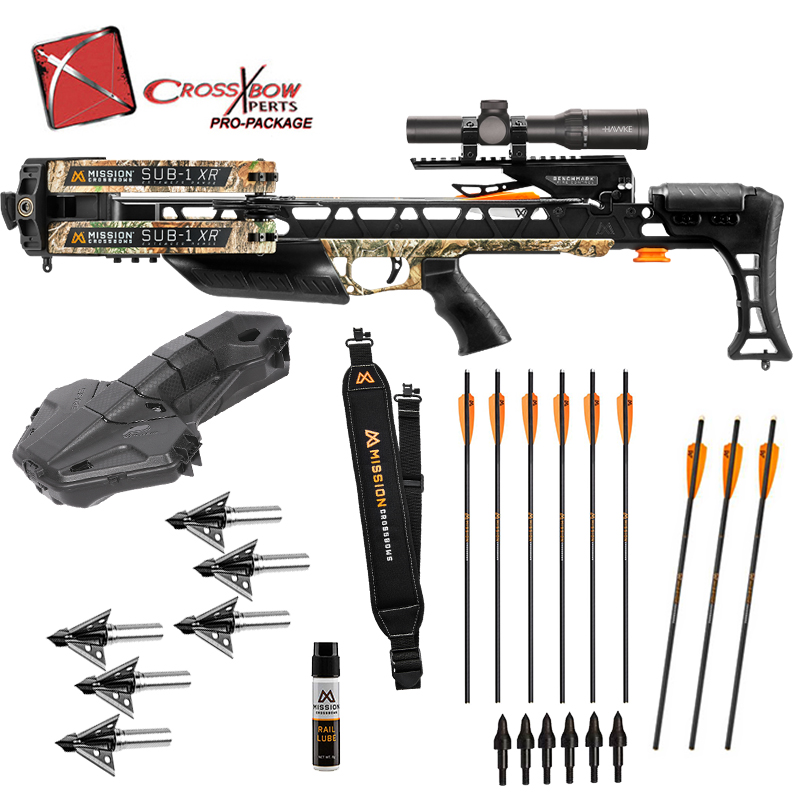 Mission Sub 1 XR in Realtree with Plano Spire Compact Hard Crossbow Case, Rocket Broadheads, Sling, Lighted Mission Bolts, and more accessories for the best Mission Crossbow package on the Market.